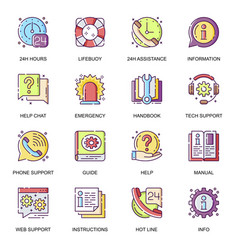 help and support flat icons set vector image