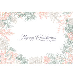 holiday postcard template with merry christmas vector image