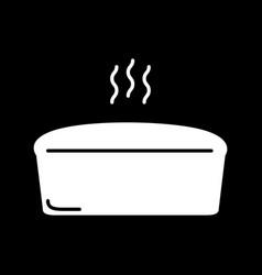 Hot bread loaf dark mode glyph icon vector