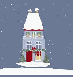 house decorated with xmas garlands and lights vector image