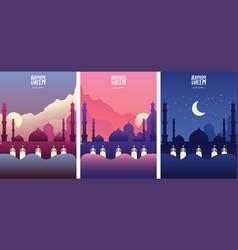 islamic mosque with cloud ramadan kareem vector image
