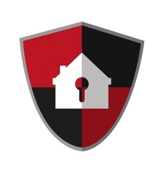 Isolated house inside shield design vector