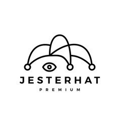 Jester hat outline logo icon vector