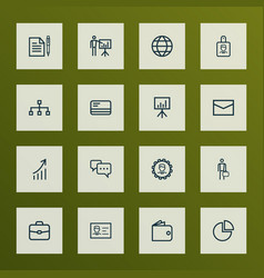 job icons line style set with earth billfold vector image