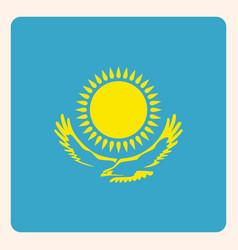 kazakhstan square flag button social media vector image