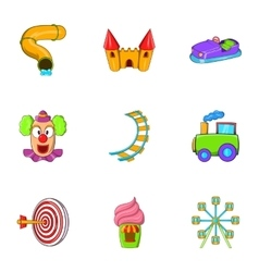 Kids games icons set cartoon style vector