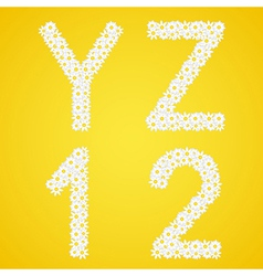 Letters YZ and 12 figures composed from daisy vector