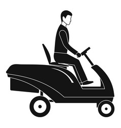 Man at grass machine icon simple style vector