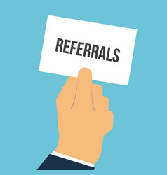 Man showing paper referrals text vector
