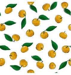 mandarines tangerine clementine with leaves vector image