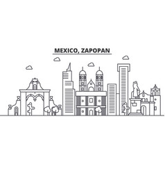 Mexico zapopan architecture line skyline vector