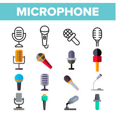 microphone voice recording color icons set vector image