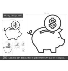 Money savings line icon vector