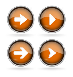 orange next buttons with chrome frame round glass vector image