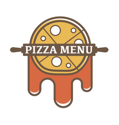 Pizza menu promotional logotype with rolling pin vector