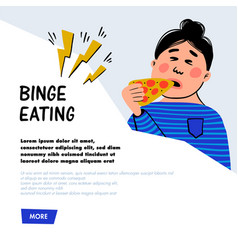 Psychology binge eating woman character vector