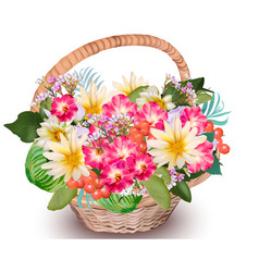 Realistic floral summer bouquet in a basket vector