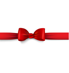realistic red bow with horizontal ribbon isolated vector image