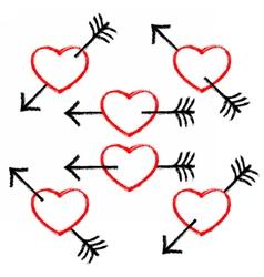 Red textured heart pierced black arrow vector