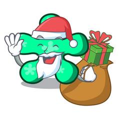 santa with gift free form mascot cartoon vector image