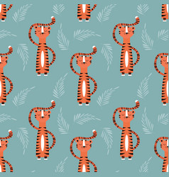 Seamless pattern with cute jungle orange tiger on vector