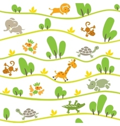 Seamless pattern with funny african animals vector