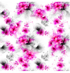 Seamless pattern with pink abstract flowers vector