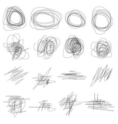 set abstract hand drawn scribbles vector image