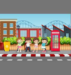 Set of children in urban street vector