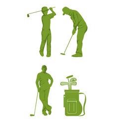 set of golf sport equipment vector image