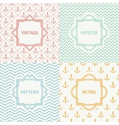 Set of mono line marine geometric seamless pattern vector image