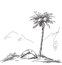 sketch camping tent vector image