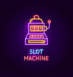 slot machine neon label vector image