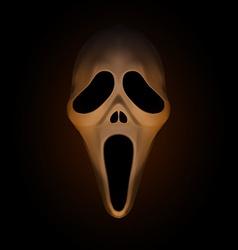 Spooky halloween mask on dark brown background vector image