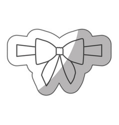 Sticker silhouette satin center ribbon and bow vector