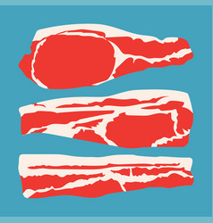 Strips sliced bacon vector