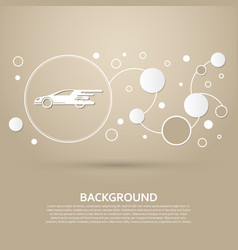 super car icon on a brown background with elegant vector image