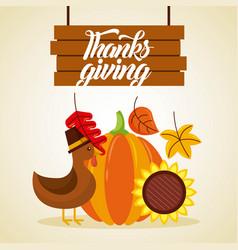 Thanksgiving wooden board lettering turkey pumpkin vector