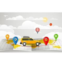 Travel vacation concept with car vector