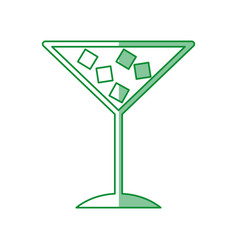 tropical cocktail cup with ice cubes vector image