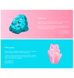 Turquoise and pink quartz minerals online posters vector
