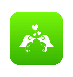 two birds with hearts icon digital green vector image