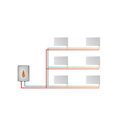 two-pipe horizontal heating system the lower vector image