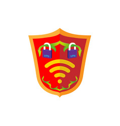 Vpn safety shield sign protect concept internet vector