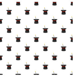 wand in hat pattern seamless vector image