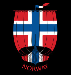 Warship of the vikings - drakkar and norway flag vector