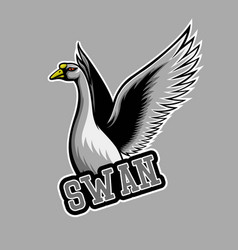 white swan mascot logo swan e sports logo vector image