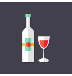 Wine Bottle with Glass Christmas Flat Icon vector image