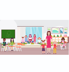 women teachers teaching mix race boys and girls vector image