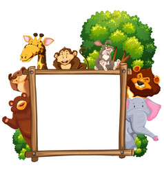 Wooden frame with many animals in background vector